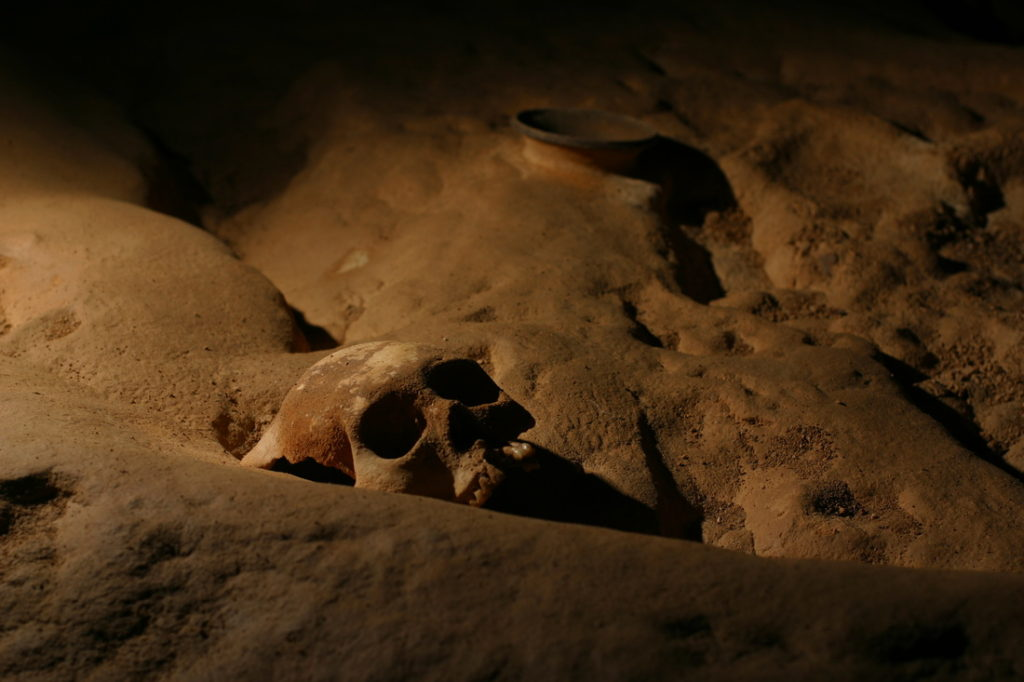 One of the many skulls that are strewn across the main chamber. Image by: www.kaatzwitztours.com/