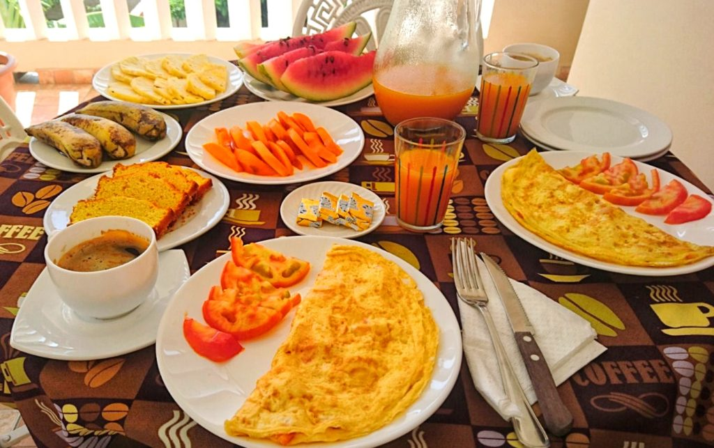 A standard Cuban breakfast: omelette followed by all the fresh exotic fruit you can eat.